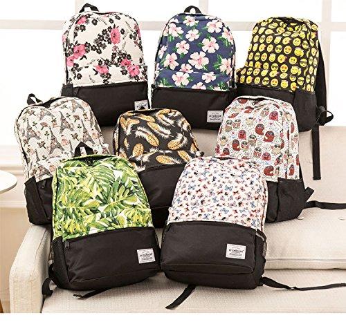 Mochila colorido Imprimir cara Emoji Bookbags de mochila escolar para viaje niñas de Mochila adolescentes lienzo Sonrisa 802a femenina moda xEq0tndEpW