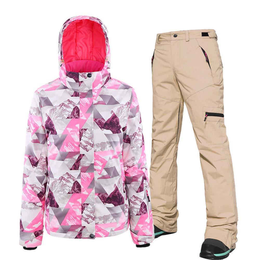 ZYJANO Tuta da Sci Tuta da Sci Donna Set Snowboard Abbigliamento Impermeabile Antivento Invernale Costumi da Neve Giacche///Bavaglini Pantaloni Giacca da Sci Caldo
