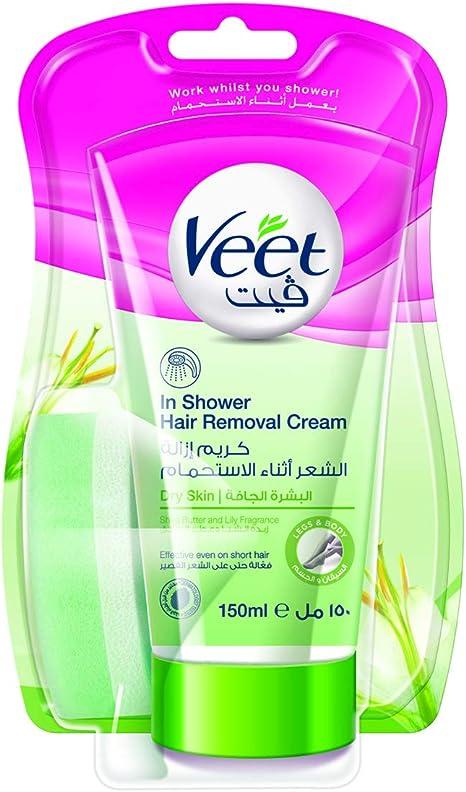 Veet Crema de Ducha Depilación para la piel seca con manteca de ...