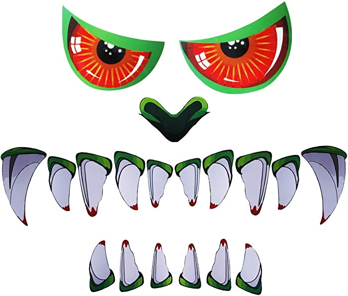 DR.DUDU Halloween Green Monster Face Garage Door Decoration, 19 PCS PVC Scary Monster Face Window Gateway Door Car Sticker Decor with Eyes Teeth Cutouts (Assembly Needed) Halloween Party