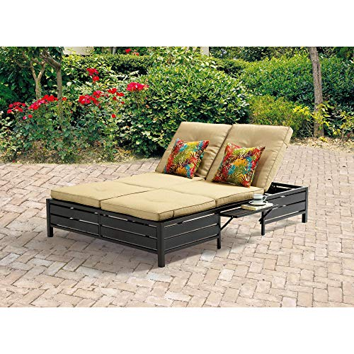 Double Chaise Lounger - This red stripe outdoor chaise lounge is comfortable sun patio furniture Guaranteed which can also be used in your garden, near your pool, or on your deck or lawn. The chaise longue or longe is a great recliner sofa chair. (Double Pool Lounger)
