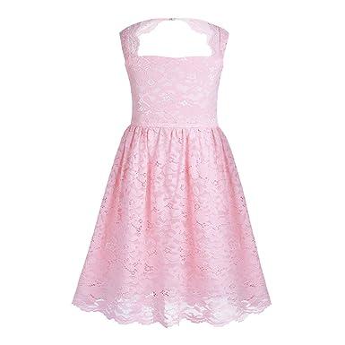 596acce3efec3 iiniim Robe de Princesse Bal Soirée Courte Enfant Fille Dentelle Fleur Tops  Halter Col Carré Dos