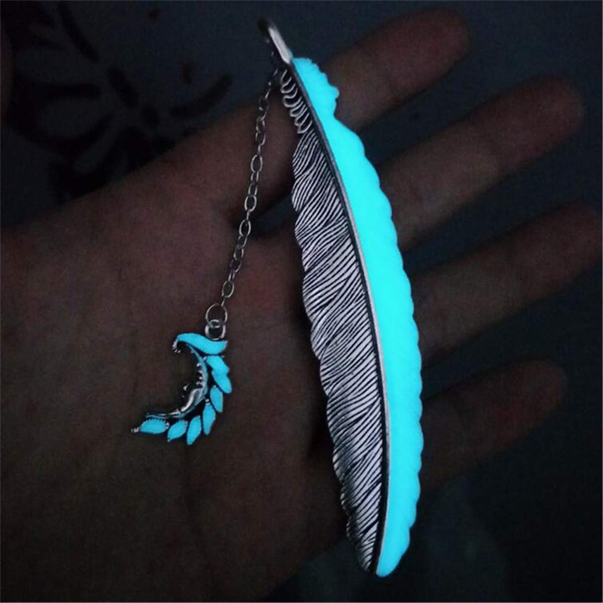 Winwinfly M/étal de signet de plume de r/étro de lune lumineuse en m/étal signet accessoires de papeterie pour des femmes,Cuivre