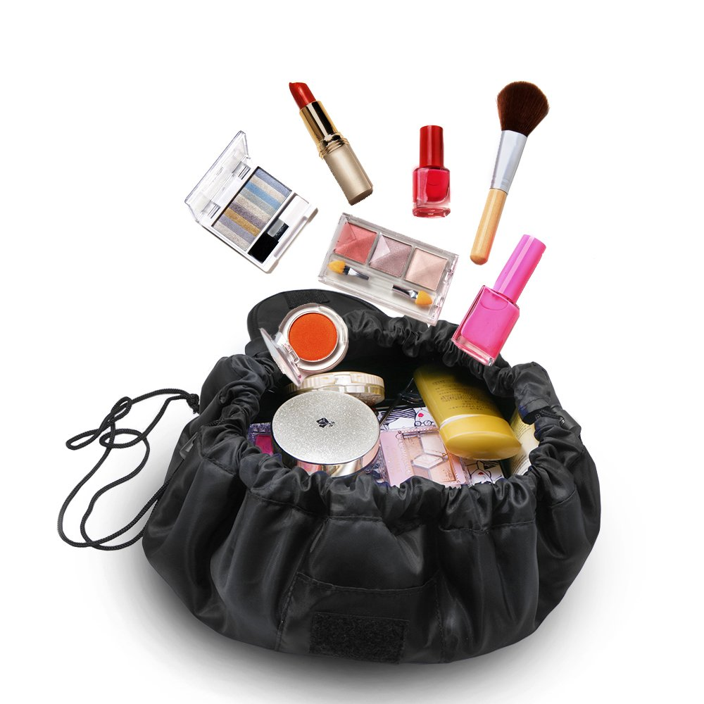 Fashion Cosmetic Bag Large Capacity Lazy Makeup Toiletry Bag Multifunction Storage Portable Quick Pack Waterproof Travel Bag (Black) by VOJUAN (Image #4)
