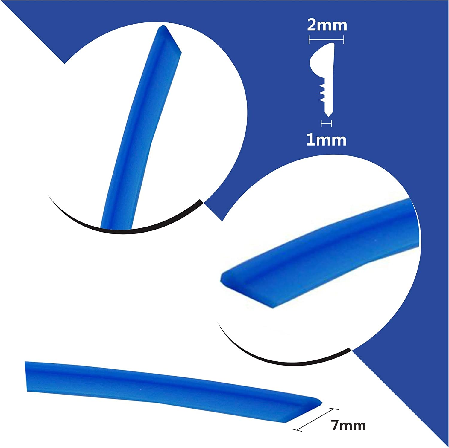 Mr.Brighton LED 50ft 15m Blue Car Interior Decorative Molding Door Panel Gap Trim Strip