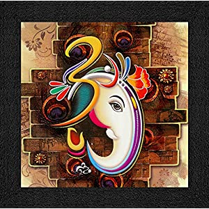 SAF Ganesha UV Coated Home Decorative Gift Item Framed Painting 12 inch X 12 inch SANFO89