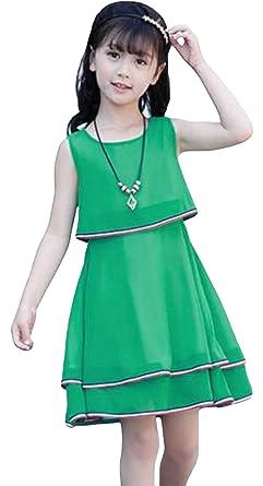 56b87123734c6 DeBangNi 子供ドレス キッズワンピ 子供服 夏 女の子 ガールズ ワンピース シフォン 袖なし Oネック