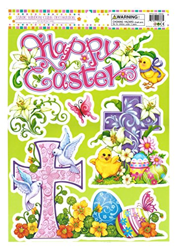 Happy Easter Religious Cross Window Clings
