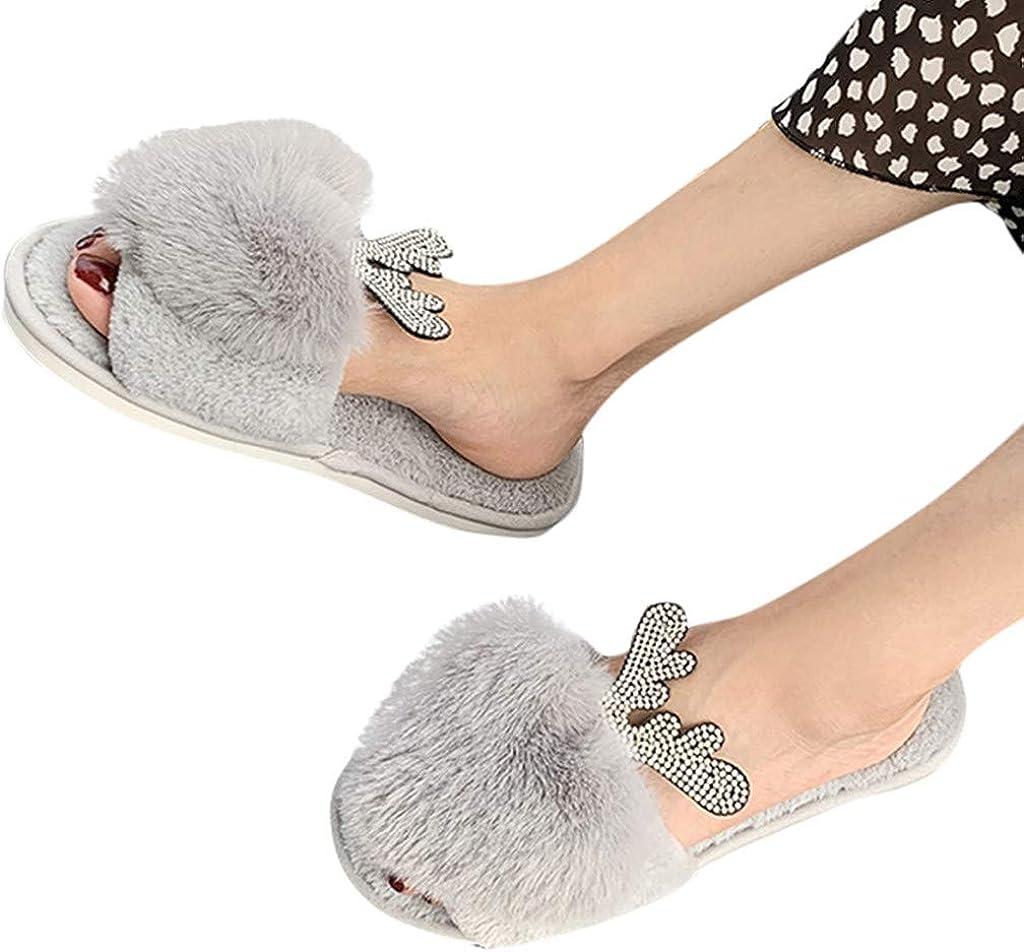 Slippers for Womens House Shoes Memory Foam Cotton Slippers Open Toe Fleece Plush Slippers Mule Slippers