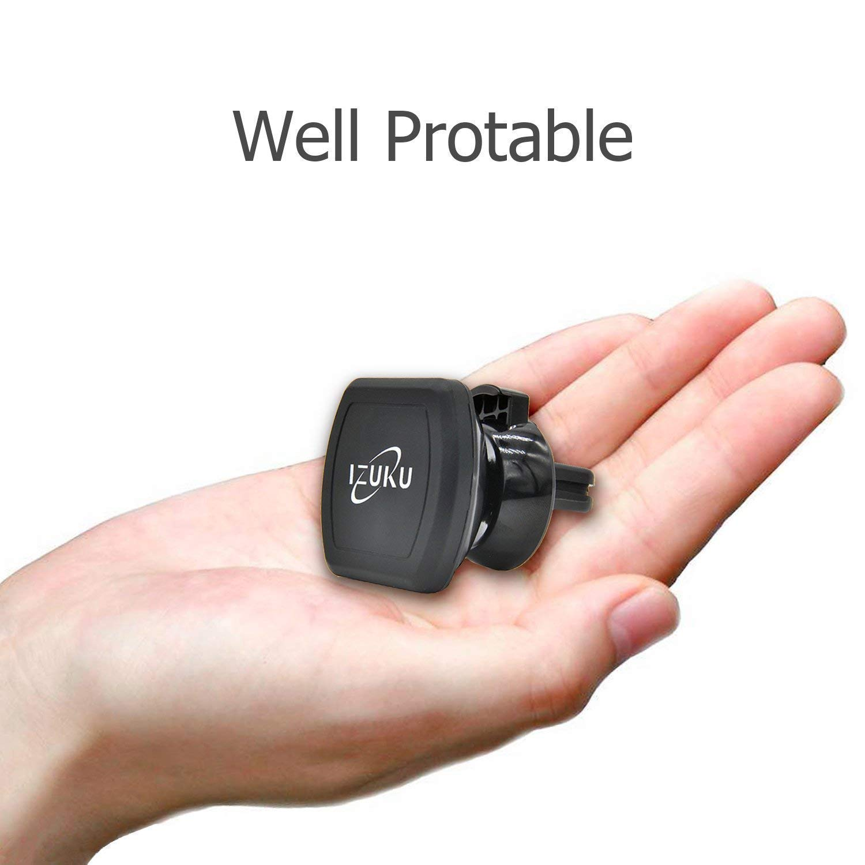 Soporte Movil Coche, Sostenedor Magnético de Teléfonos Móviles Universal IZUKU [Rotación de 360 grados] para Smartphone(iPhone 7 7 Plus 6s 6s Plus 6 6 Plus iPhone SE 5, Samsung Galaxy S7 S6 J5 A5, Wiko, Huawei.etc) y Dispositivo GPS(garantí