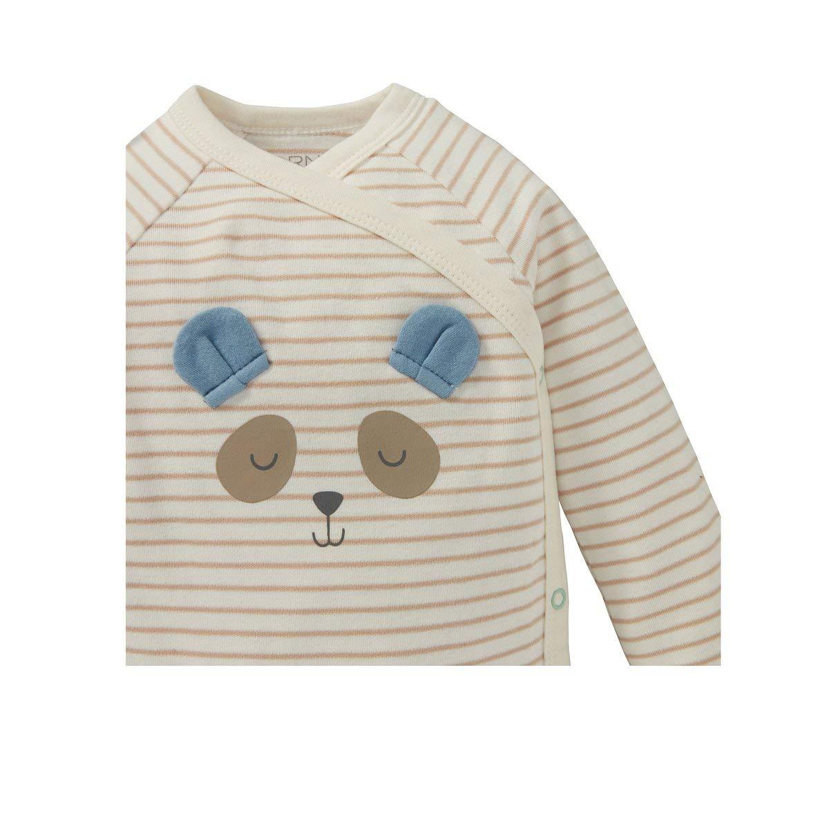 Bornino Wickelbodys Langarm Panda - Bodys mit h/übschen Tier-Motiven /& Druckkn/öpfen im Schritt- /& Schulterbereich Mint//Offwhite gestreift 2er-Pack