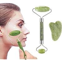 Jade Roller, Anti-aging Natural Facial Jade Stone Set - Face Eye Neck Beauty Roller For Slimming & Firming, Rejuvenate…