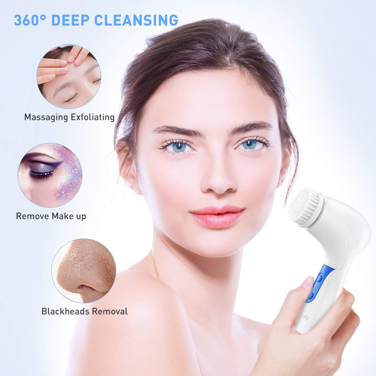 Facial Cleansing Brush 2020 UpgradedETEREAUTY Waterproof Facial Brush Spin Face Brush 4in1 Set for