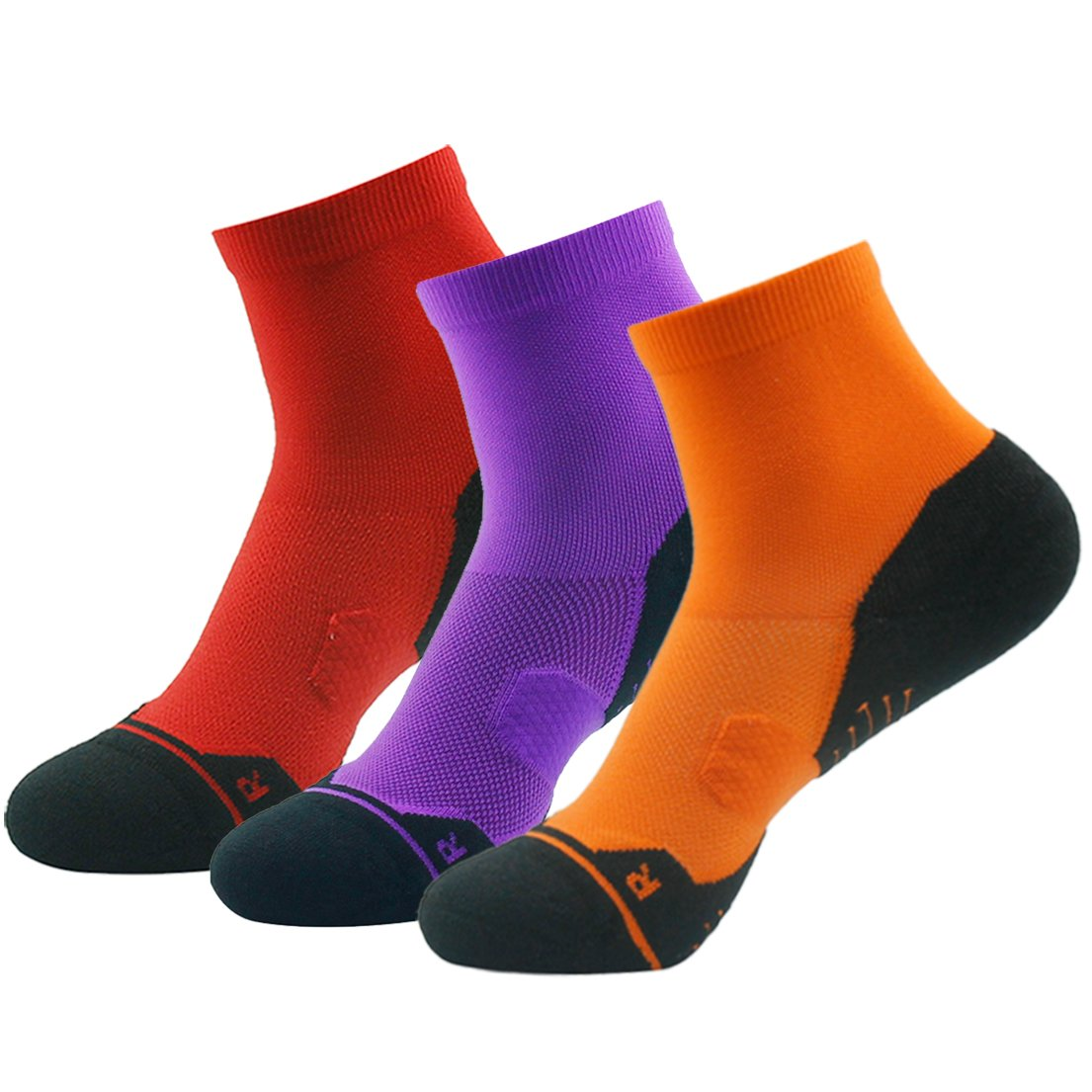 Z3 Pair orange&red&purple Running Socks Support, HUSO Men Women High Performance Arch Compression Cushioned Quarter Socks 1,2,3,4,6 Pairs