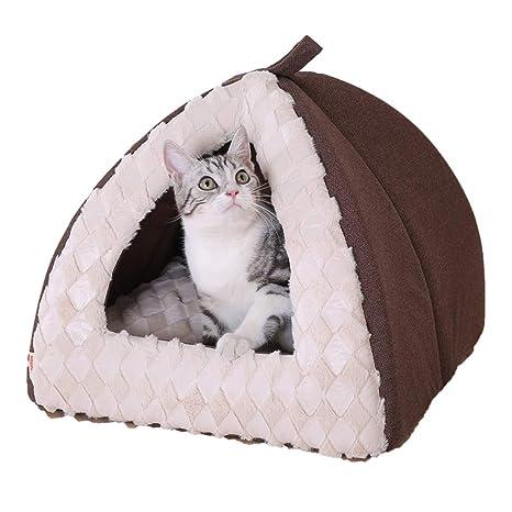 Jaulas Cama para Gato Arena para Gatos Semicerrada Yurta Cálida Casa De Gato Caseta Canina para