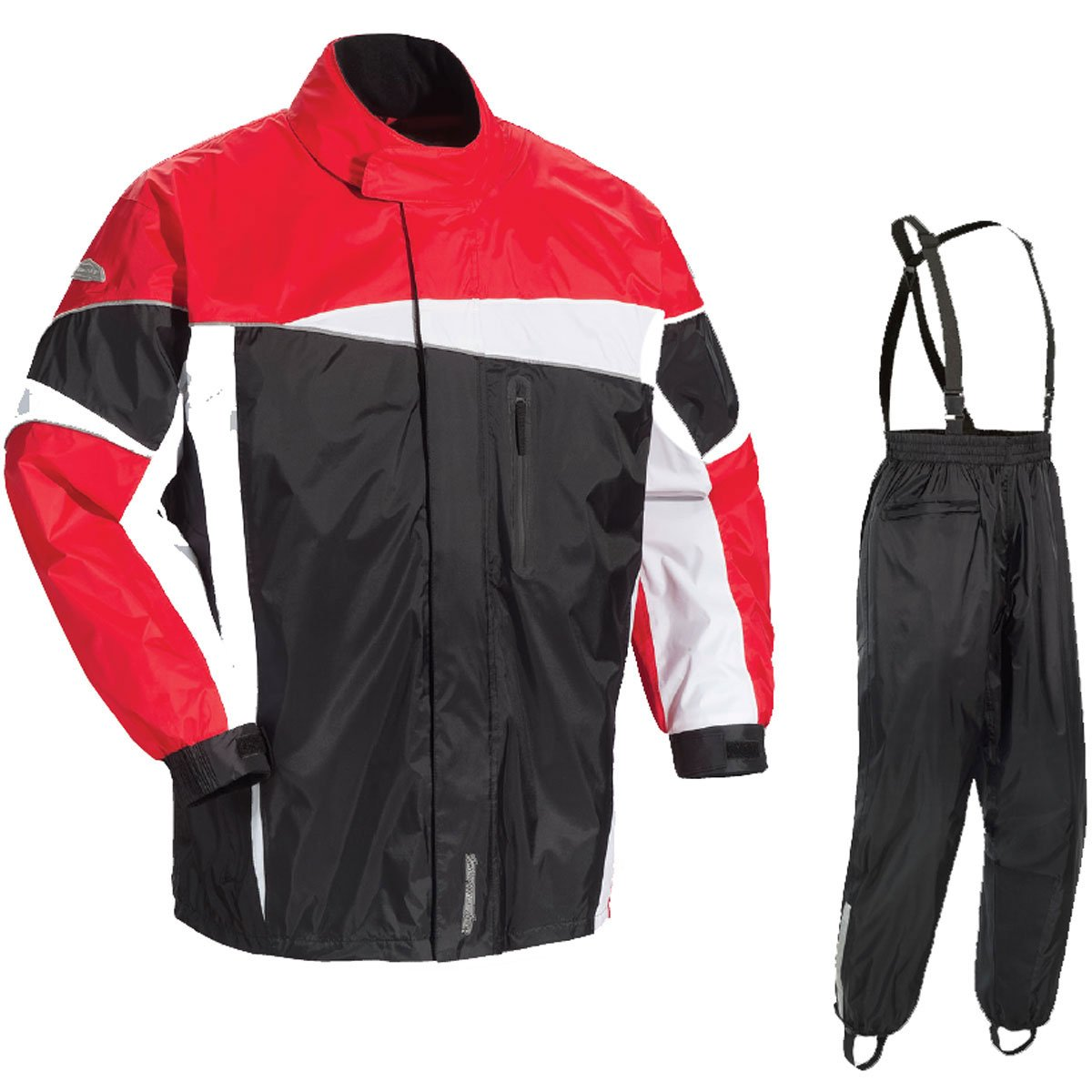 Tour Master Defender 2.0 Men's 2-Piece Street Bike Racing Motorcycle Rain Suit - Black/Red 2X-Large