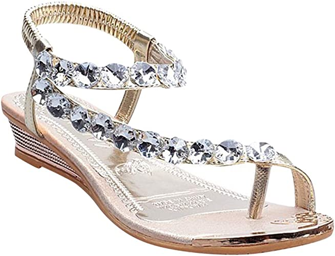 Womens Clear Rhinestones Beads Summer Pull On Slippers Platform Sandals Shoes