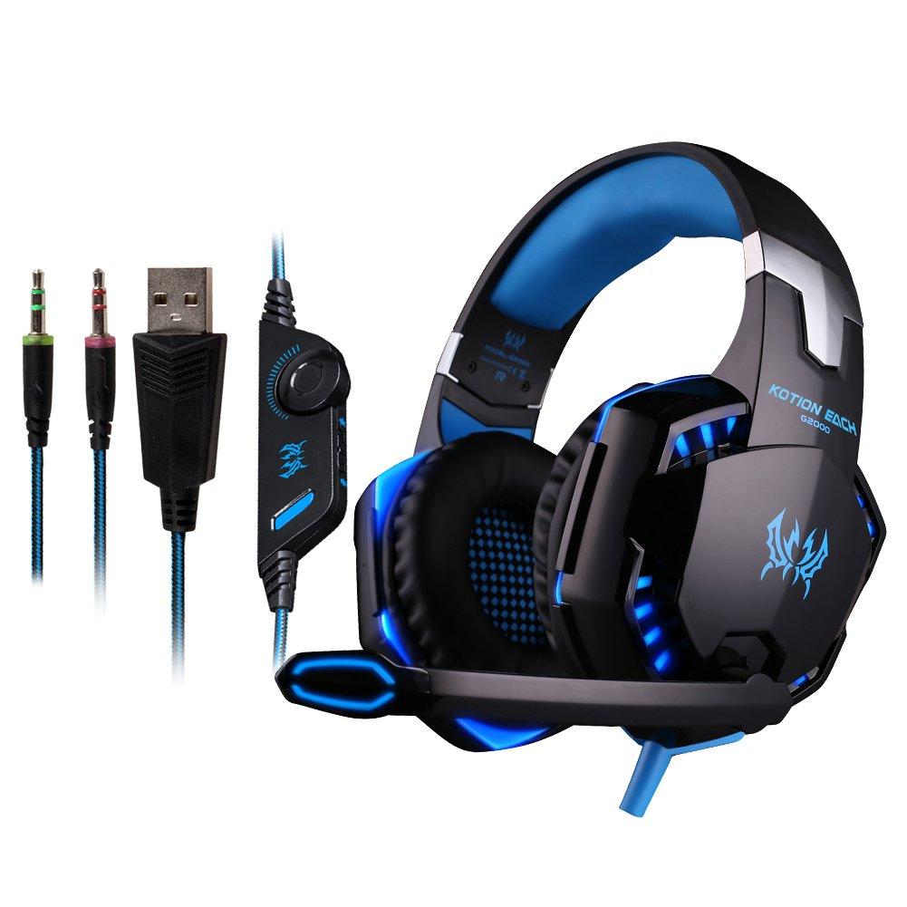 Doradus KOTION EACH G2000 Over Ear Stereo Bass Gaming Headphone Headset Earphone Headband with Mic LED Light for PC Game GGOG11