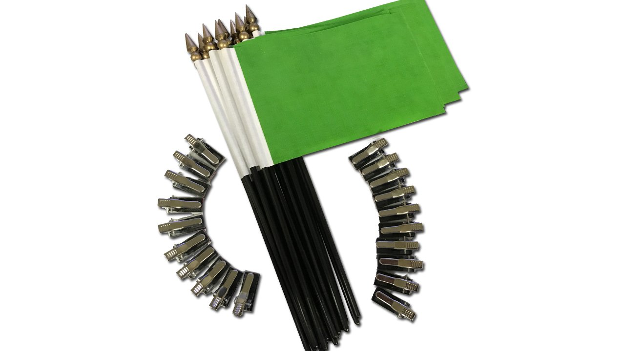 Green Desk Flag with Flag up Flag Down Metal Clip Pomodoro Status Alert Office Notify (20 Pack)