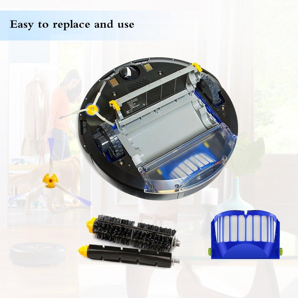Supon iRobot Roomba Accesorios Cepillos Repuesto para iRobot Roomba Serie 600 Reemplace de Accesorios-Kit De 10 Piezas Accesorios Cepillos Lateral,Filtros,Cepillo de Cerda para Aspirador Robot