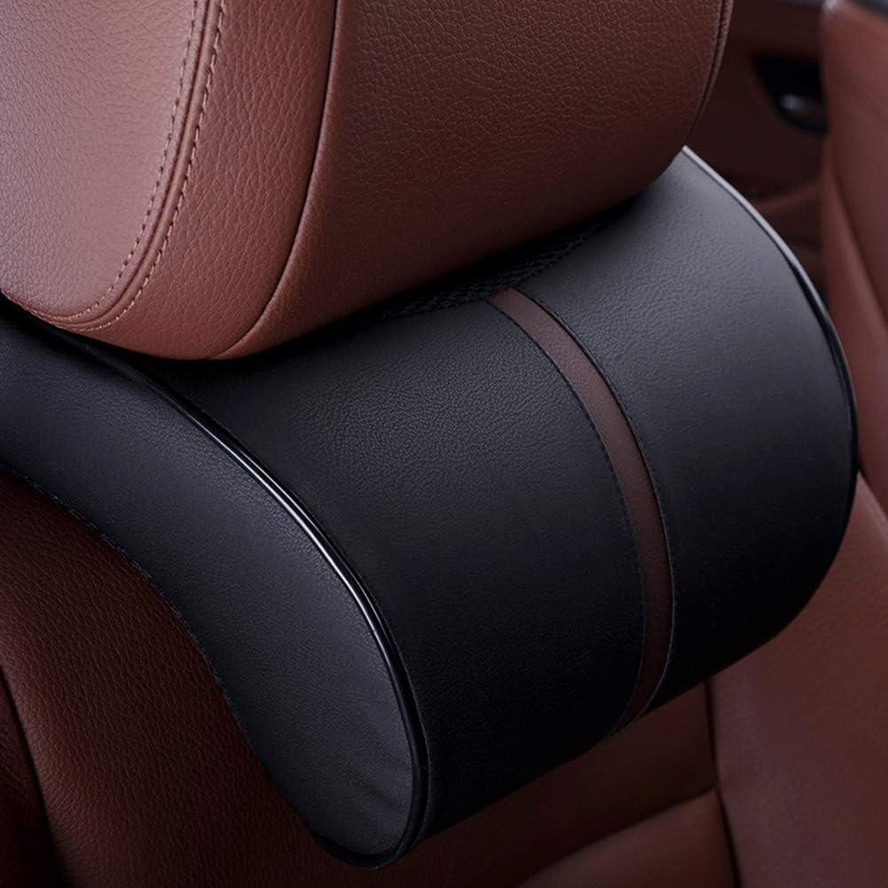 Shentesel Car Headrest Pillow Faux Leather Memory Cotton Neck Seat Waist Support Cushion Black Waist Cushion