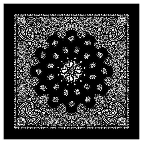 "Cotton Bandana Black (100% Cotton Western Paisley Bandanas (22"" x 22"") Made in USA - Black Single Piece 22x22 - Use For Handkerchief, Headband, Cowboy Party, Wristband, Head Scarf - Double Sided Print)"