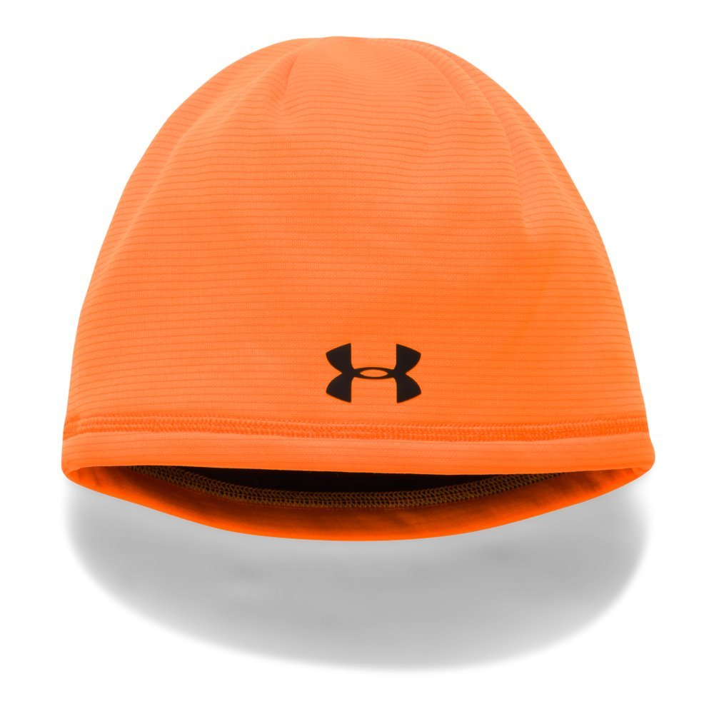 Under Armour Boys' Scent Control Storm Fleece Beanie, Blaze Orange /Black, One Size