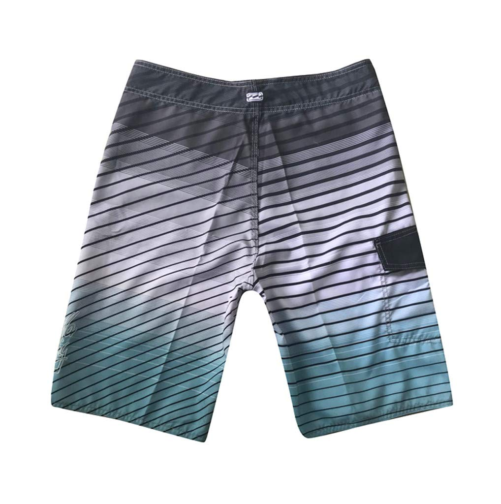 NUWFOR Men's Fashion Casual Printing Patchwork Beach Surfing Swimming Loose Short Pants(Gray,US S Waist:30.7'') by NUWFOR (Image #2)