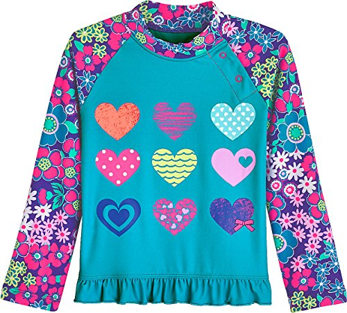 8fb9113e5e08f Galleon - Coolibar UPF 50+ Baby Girls' Ruffle Swim Shirt - Sun Protective  (18-24 Months- Hearts)