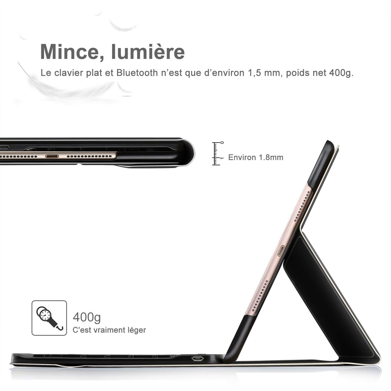 Wireless Clavier 7 Couleurs Trois partition r/étro/éclair/é Clavier Housse pour Huawei MediaPad T5 10 Pouces AZERTY BG-Noir ELTD Clavier /Étui pour Huawei MediaPad T5 10 Pouces,