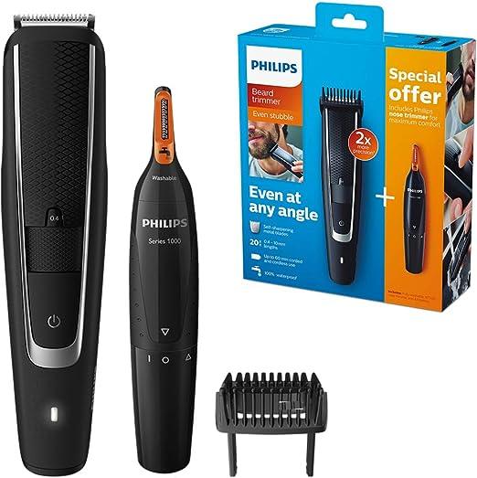 Philips BEARDTRIMMER Series 5000 BT5503/83 cortadora de pelo y maquinilla Negro, Plata Recargable - Afeitadora (Negro, Plata, 0,4 mm, 2 cm, Acero inoxidable, 60 min, AA): Amazon.es: Hogar