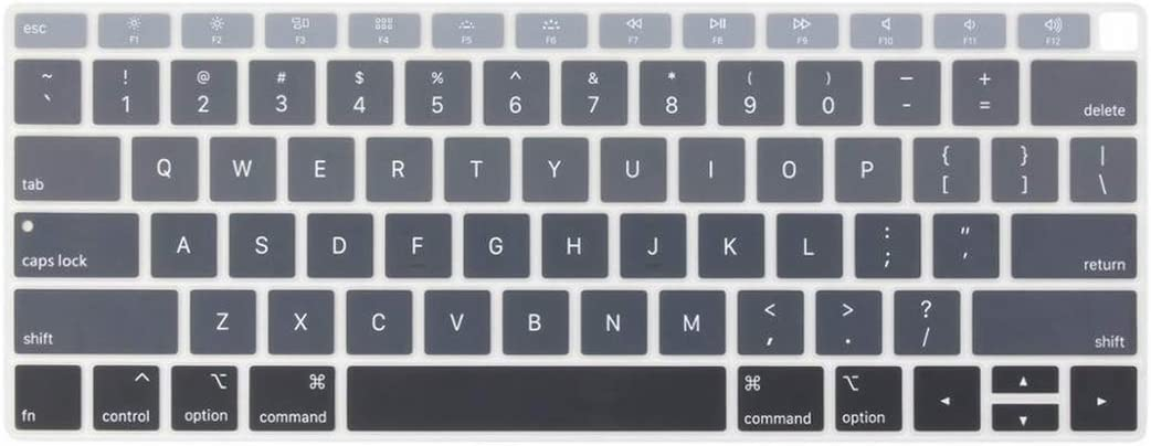 US Version English Silicone Keyboard Cover for MacBook Air 13 2019 2018 A1932 with Touch ID,Gradient Grey