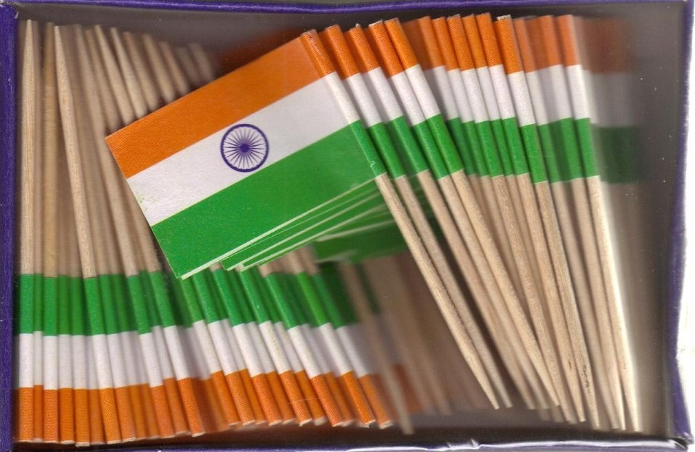 25 Box Wholesale Lot of India Toothpick Flags, 2500 Small Mini Indian Flag Cupcake Toothpicks or Cocktail Picks