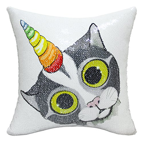 (ICOSY Sequin Caticorn Pillow Cover, Mermaid Pillow Case Unicorn Throw Pillow Cover Caticorn Decorative Cushion Cover Reversible Sequin Pillowcases 16