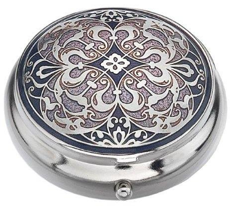 Pill Box  Standard Size   In An Arabesque Design In Purple Color