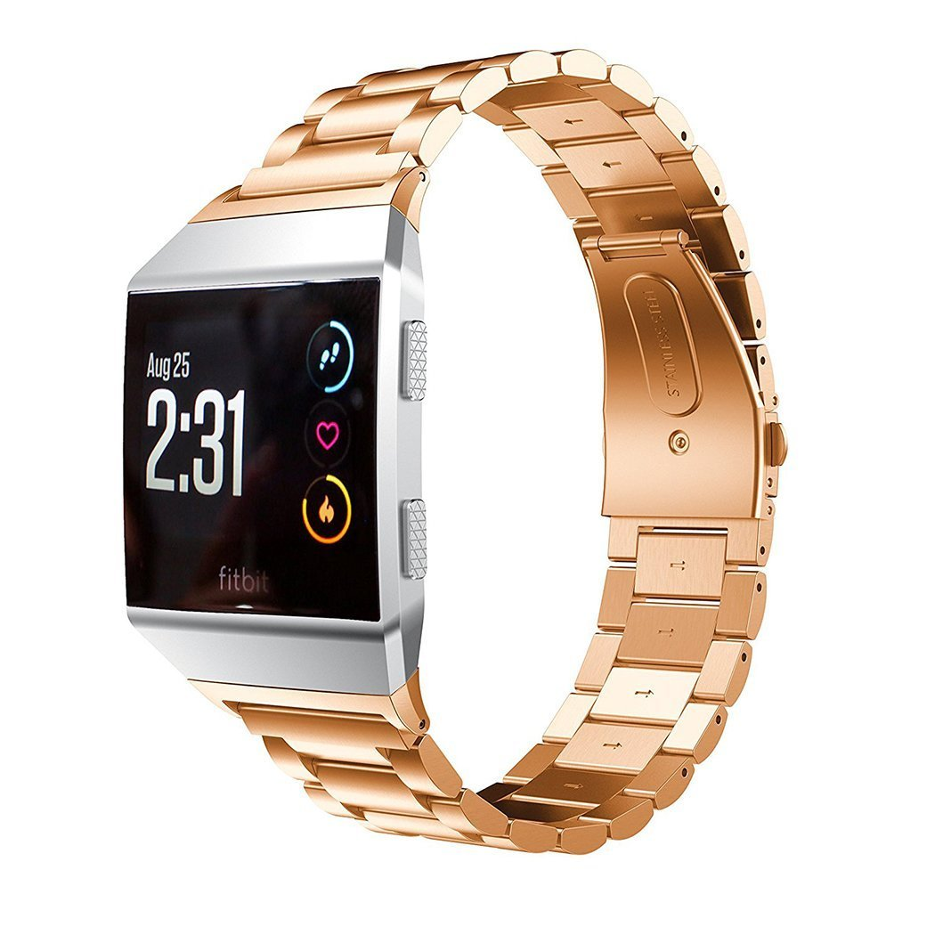 Juvnile Premium Stainless Steel Crystal Rhinestone Wrist Band Compatible with Fitbit Ionic for Men/Women with Adjustable Chain band & Folding Clasp, Rose Gold