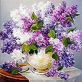 YEESAM ART New 5D Diamond Painting Kit - Lavender Vase - DIY Crystals Diamond Rhinestone Painting Pasted Paint by Num