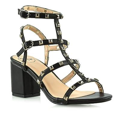 ccbc0b23af38 ESSEX GLAM Womens Ladies Ankle Strap Studded Sandals Ladies Rivet Block Heel  Shoes Size 3-