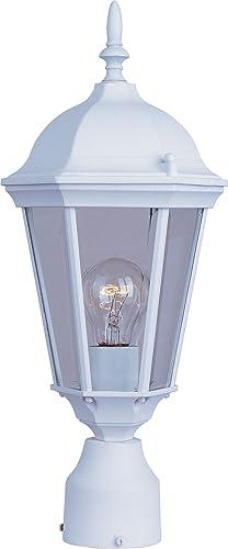 Maxim 1001WT Westlake Clear Glass Outdoor Post Pole Mount, 1-Light 60 Watt, 19 H x 8 W, White
