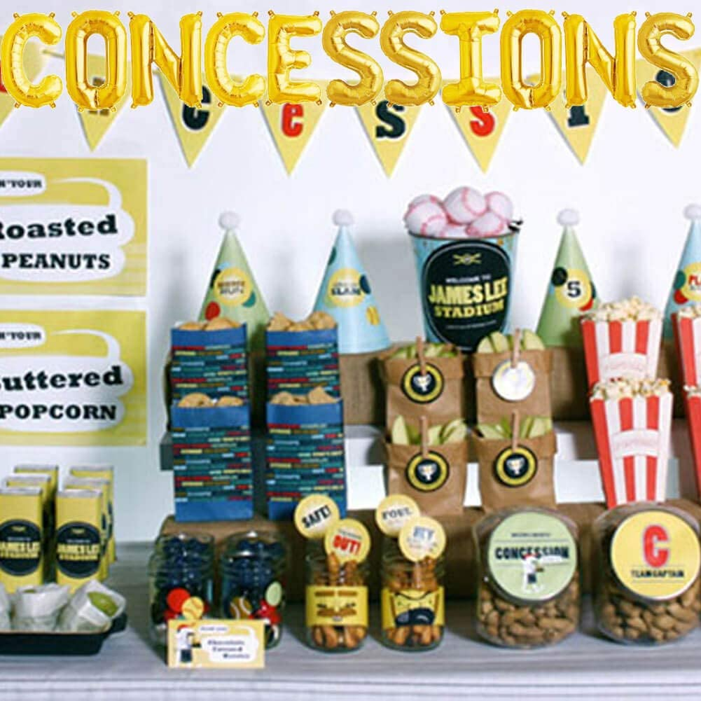 Concessions Party Banner Baseball Football Soccer Basketball Sports Game Day Theme Gender Reveal Baby Shower Birthday Party Supplies Decoration Concessions Balloons