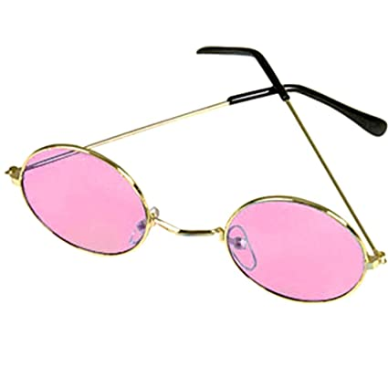1f544e3678 Amazon.com  Horror-Hall Groovy Hippie Funky Novelty Round Costume Glasses  Retro Lennon Gold Frames-Pink  Electronics