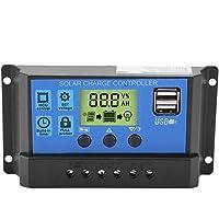 PWM 12V 24V Dual USB Panel Solar Regulador de Carga, Pantalla LCD 10/20 / 30A Controlador de Carga Solar(YJSS-10A)