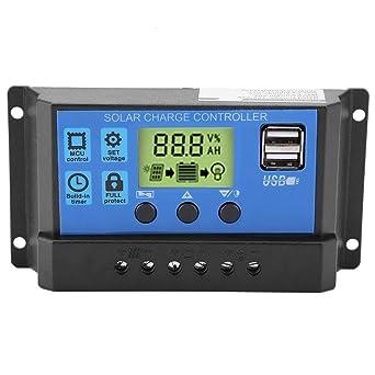Controlador de carga del panel solar, Akozon Cargador solar Controlador inteligente Panel batería Regulador PWM 12V 24V Dual USB(20A)