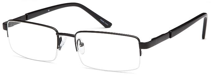 Amazon.com: Mens Semi-Rimless Glasses Frames Black Prescription ...