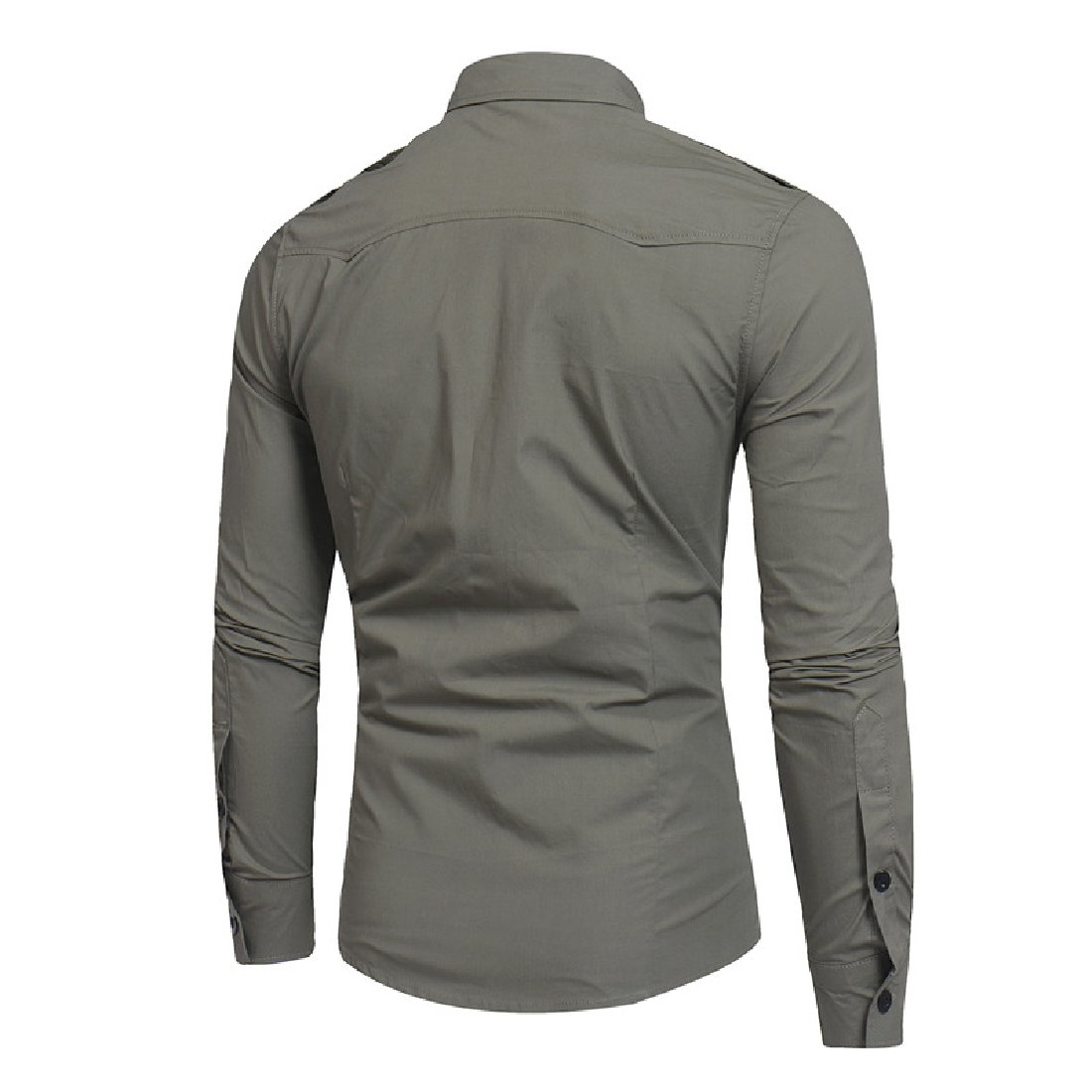 YUNY Mens Tactical Epaulet Style Slim Long Sleeve Casual Button Down Shirts with Pocket Army Green L