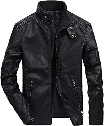 chouyatou Mens Classic Band Collar Zipper Smooth Moto Faux Leather Bomber Jacket