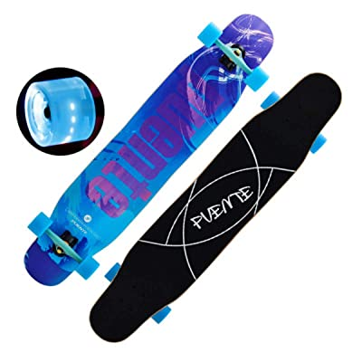 QINGMM Complete Skateboard with Colorful Light Up Flashing Wheels for Kids Boys Girls Youths Beginners 46''X 10''' Maple Birthday Gift: Home & Kitchen