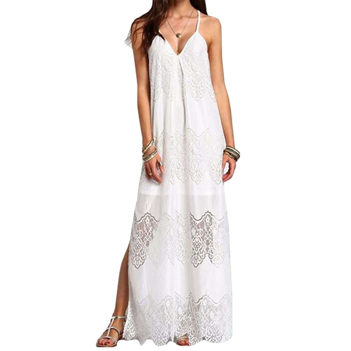Women Floral Lace Maxi Dress Sexy V Neck Spaghetti Strap Long Dress Full Dresses for Summer Daily Party Beach Travel White 2XL