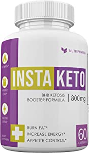 InstaKeto by Nutrapharm - BHB Ketosis Booster Formula - Advanced Weight Loss Blend - 30 Days - 1 Month Supply