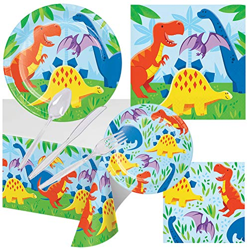 Dinosaur Friends Birthday Party Pack Set Serves 16 Children Adults - Luncheon & Dessert Paper Plates, Table Cover, Napkins & Cutlery - Disposable Party Supplies for Food Cake Home School Work Parties -